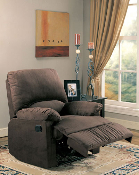 Recliner With Chocolate Microfiber Fabric