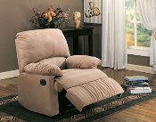 Recliner With Light Brown Microfiber Fabric