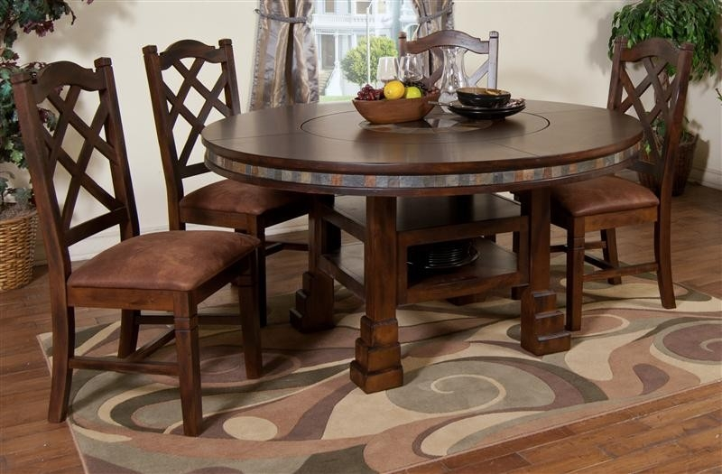 Cappuccino Dining Table W Lazy Susan