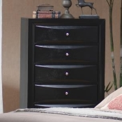 5 Drawer Chest in Glossy Black Finish
