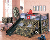 Camo Bunk Bed with Slide and Tent