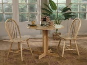 3 Pc Round Solid Wood Dining Set
