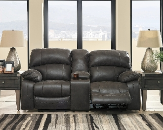 Dunwell Steel Power Reclining Love w/Adjustable Headrest