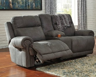 Austere Gray Double Reclining Loveseat W Console 3840194