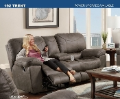 Trent Manual Reclining Console Loveseat  Charcoal