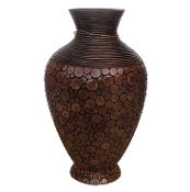 Fusion Tall Bamboo Vase with Rattan Inlay (CLOSEOUT)