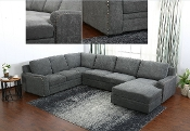 Metolious 3 Piece Sectional Grey Microfiber/Nailhead Trim!!
