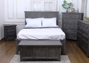 New Traditions Solid Mahogany Queen Platform/Storage Bed Grey