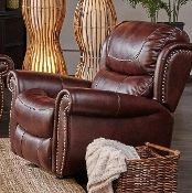 Glider Recliner with nailhead trim Banner Mahogany (Closeout!)