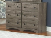 Weathered Gray Ash  6 Drawer Dresser