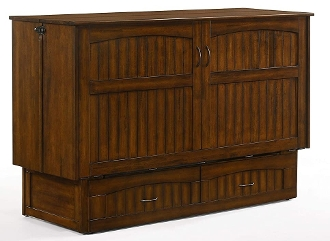 Alpine Queen Murphy Cabinet Bed  w/Memory Foam , Heritage Brown
