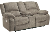 Draycoll Pewter DBL Rec Loveseat w/Console