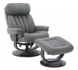 Barcalounger Oakleigh Leather Chair/otto 3449-95 Marlene-gray